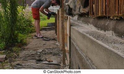 fondation, ouvrier, 4k, vieux, formwork, house., nouveau, dismantles, bois