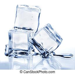 fondre, cubes, trois, glace