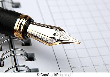 fontaine, bloc-notes, stylo, papier, cage