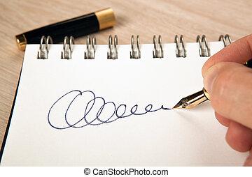 fontaine, doré, signature, papier, stylo, main