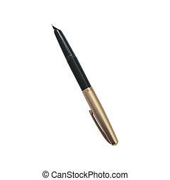 fontaine, fond, stylo, doré, blanc