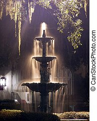 fontaine, nuit
