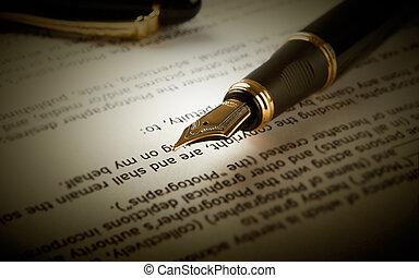 fontaine, texte, stylo, papier, feuille