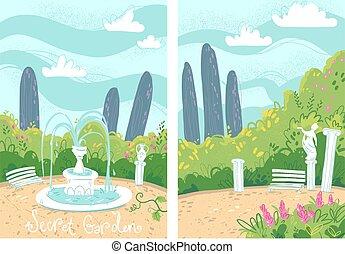 fontaine, vecteur, illustration, antiquité, colonnes, confortable, jardin, top secret