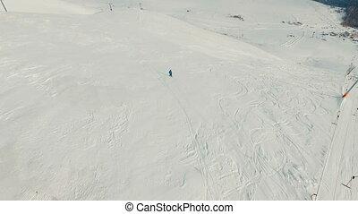 footage., aérien, snowboarder, slope.