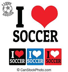 football, étiquettes, amour, signe