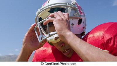 football américain, enlever, casque, joueur