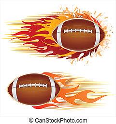football, amérique, flammes
