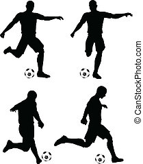 football, course, joueurs, silhouettes, grève, position, poses