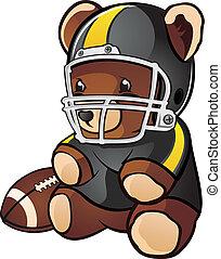 football, dessin animé, ours, teddy