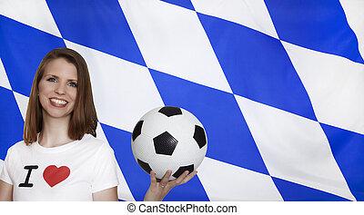 football, drapeau, bavière, ventilateur, femme