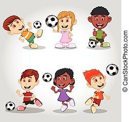 football, ensemble, enfants jouer