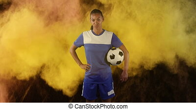 football, femme, fumée, joueur, explosion, fond, contre