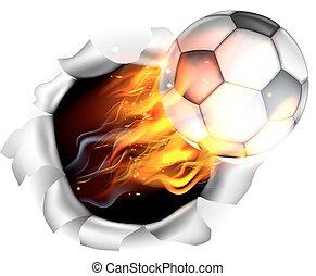football, fond, balle, football, déchirure, trou, flamboyant