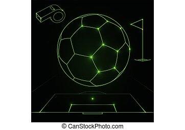 football, futuriste, objets, contour