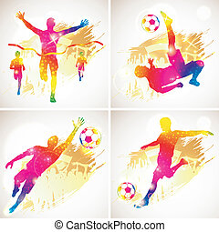 football, gagnant, silhouette