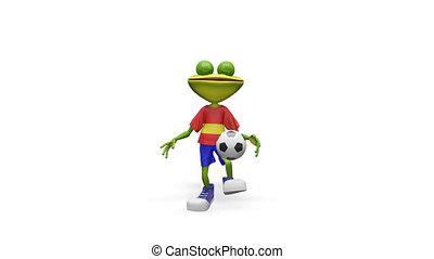 football, grenouille, joueur, animation, canal alpha, 3d