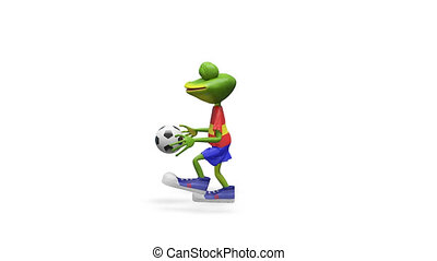 football, grenouille, joueur, animation, joyeux, canal alpha, 3d