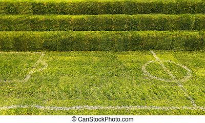 football, herbe