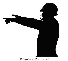 football, instruire, américain, quarterback, silhouette