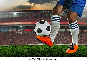 football, jouant football, joueurs