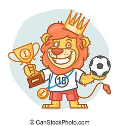 football, lion, balle, tient, tasse