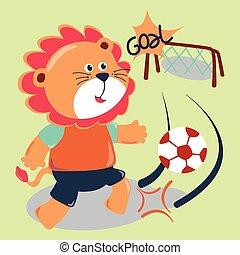 football, lion