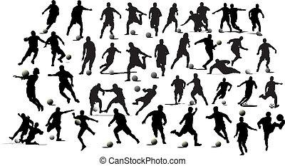 football, players., illustration, vecteur, noir, blanc, concepteurs