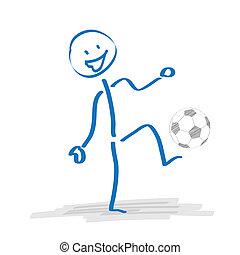football, stickman, jouer