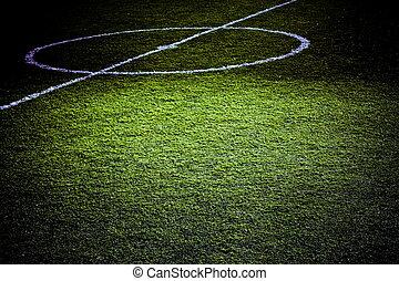 football, terrain, partie, éclairé