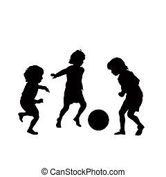 football, vecteur, enfants