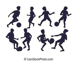 football, vecteur, players., ensemble, illustration, silhouettes