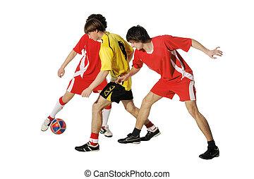 footballeurs, garçons, balle, football