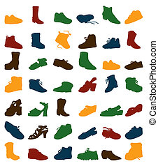 footwear., silhouettes, vecteur, illustration, collection