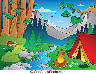 forêt, 4, paysage, dessin animé