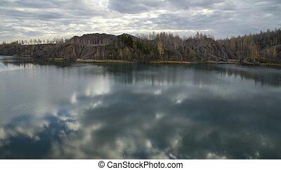 forêt, abandonnés, carrière, lac