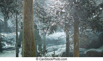 forêt, astronaute, explorer, neige