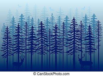 forêt bleue, vecteur, hiver