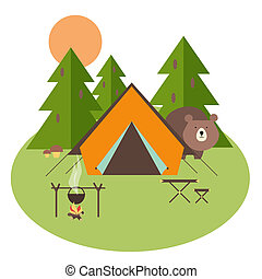 forêt, camping