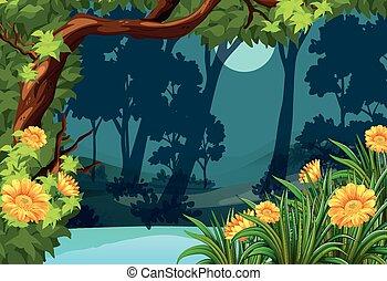forêt, fleurs, scène, lune