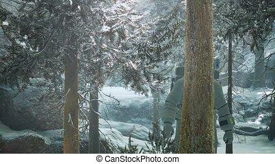 forêt, neige, astronaute, explorer