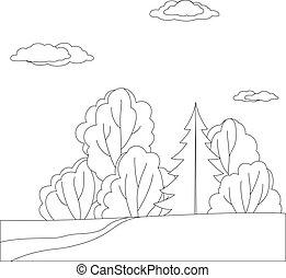 forêt, paysage, contours