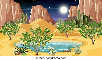 forêt, paysage, oasis, scène, nuit, désert