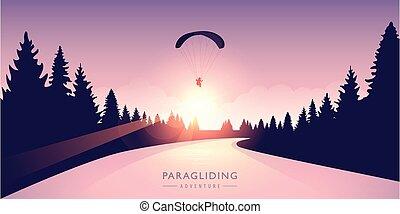 forêt, rivière, levers de soleil, aventure, paragliding