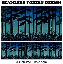 forêt, seamless, fond, nuit