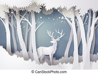 forêt, snow., cerf