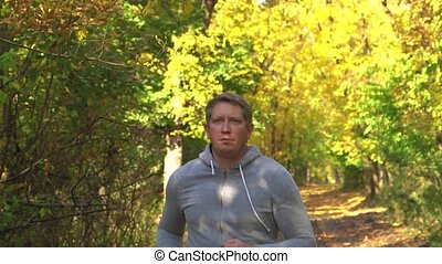 forêt, sport, homme, formation, lent, courant, .young, course, motion.