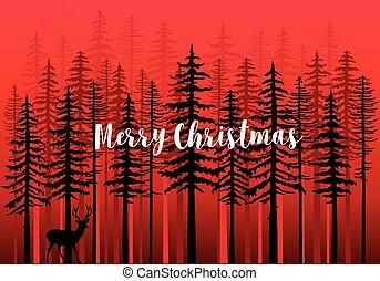 forêt, vecteur, hiver, carte, noël