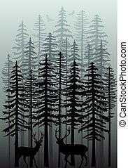 forêt, vecteur, hiver