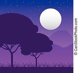 forêt, wandelust, pleine lune, scène, paysage